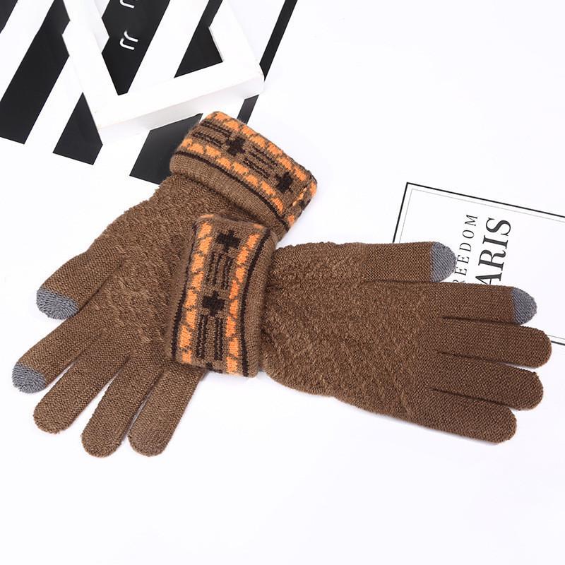 Зимние перчатки женские коричневые с сенсорными пальчиками опт
