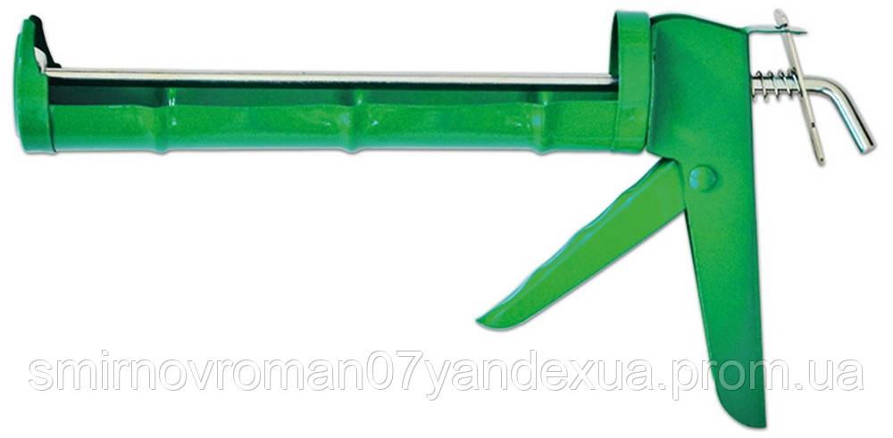 Пистолет для герметика полуоткрытый металлический зубчатый стержень / 12-003, полуоткрытый металлический, зубчатый стержень