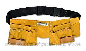 Пояс для инструмента кожаный, 10 отделений / 16-701, кожаный, 10 отделений
