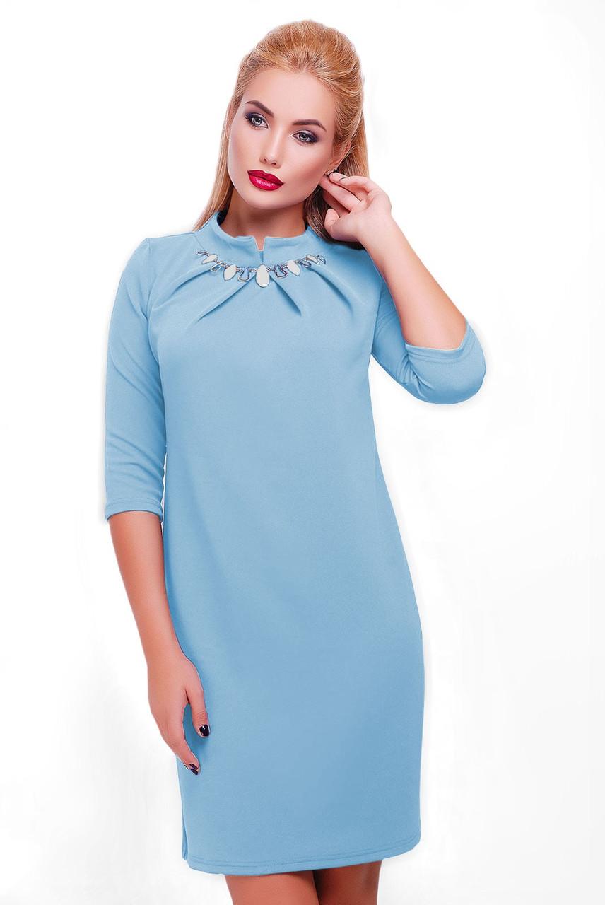 Платье  Бусина голубое, р-ры 44-54