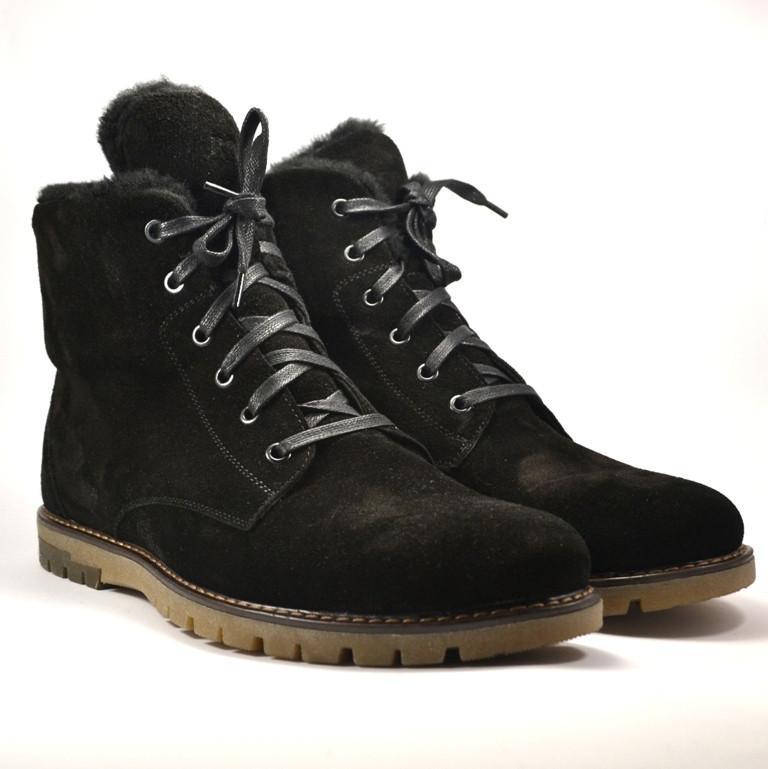 Большой размер замшевые ботинки мужские зимние черные Rosso Avangard BS Whisper Vel Black Med