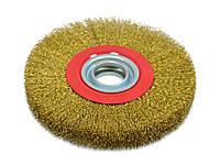 Щетка крацовка утолщенная дисковая, латунная, 125х20мм / 18-073, 125х20 мм
