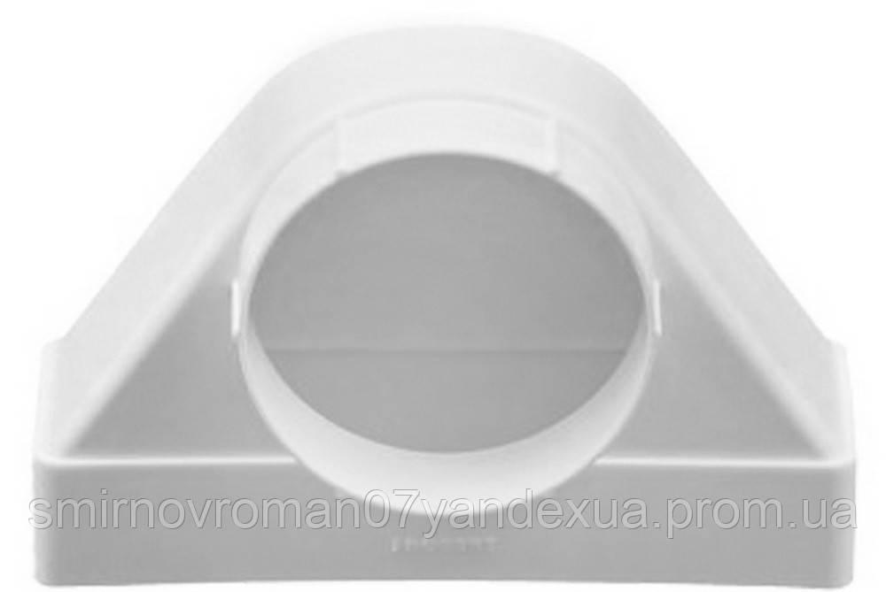 Соединитель угловой 90°, прямой канал с фланцем, пласт., 60х120 мм/D 100 мм / 60-423, 60х120 мм/d 100 мм (612СК10ФП)