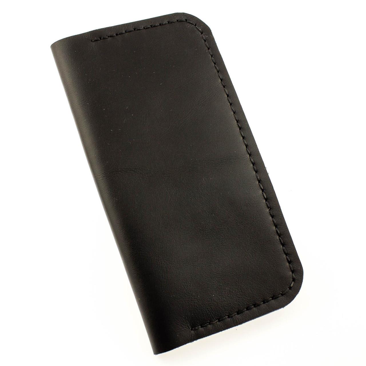 841d3f6eb150 Мужской кошелек портмоне из натуральной кожи ручной работы Revier черный  для денег и телефона - megastore