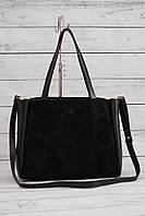 Женская замшевая сумка-шоппер, черный цвет, фото 1