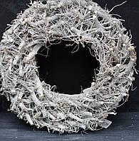 Большой обьемный венок-подсвечник серый с глиттером 47 см, фото 1