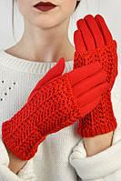 Трикотажные перчатки с ажурной митенкой