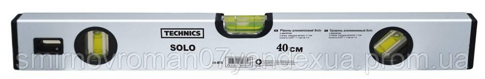 Уровень алюминиевый Solo 3 глазка, с магнитом, 40см / 14-070, 40 см