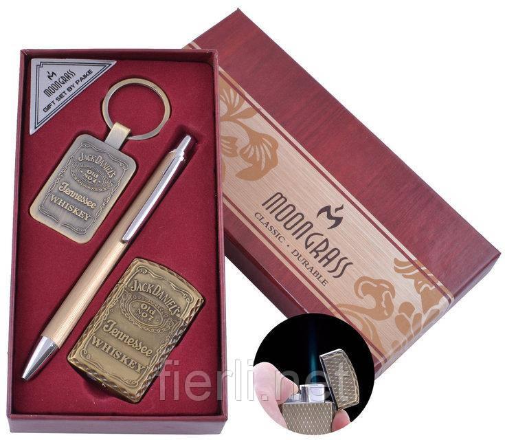 Подарочный набор брелок, ручка, зажигалка Jack Daniel's (Острое пламя) №ST-5742