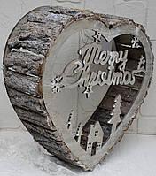 Настінний(настільний) декор Серце велике з кори дерева і