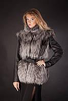 Меховая куртка-жилет из финской чернобурки со съемными кожаными рукавами и кожаным поясом Модель 4, фото 1