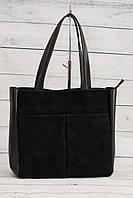 Женская замшевая сумка, черный цвет, фото 1