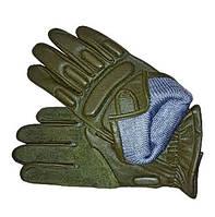 Перчатки тактические кожаные оливковые (утепленные)