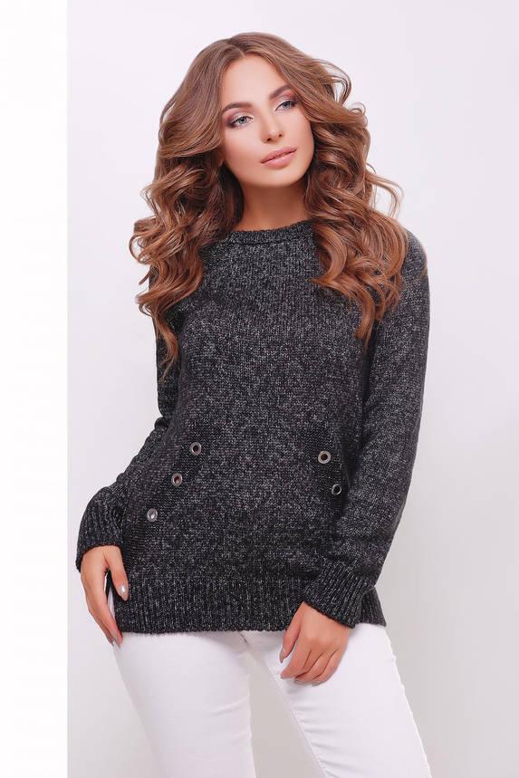 Женский вязаный свитер черный меланж, фото 2