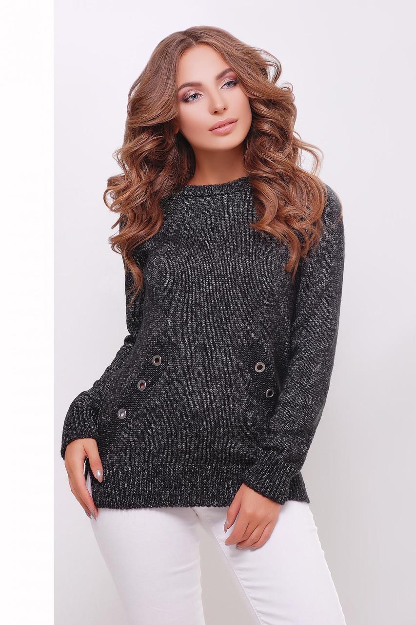 Женский вязаный свитер черный меланж
