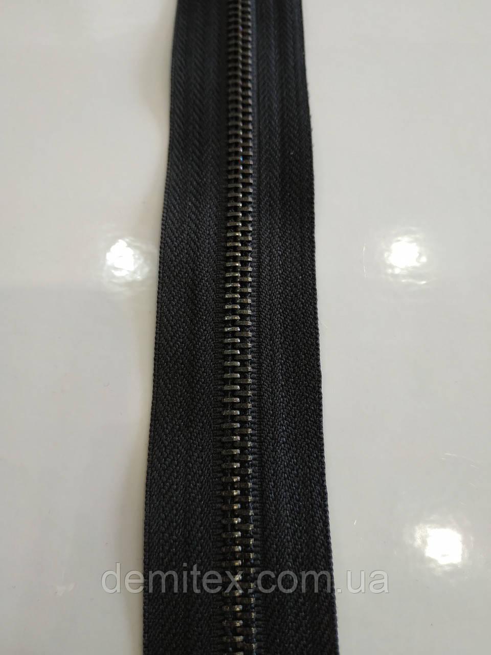 Застежка-молния на метраж металл №5 черный никель