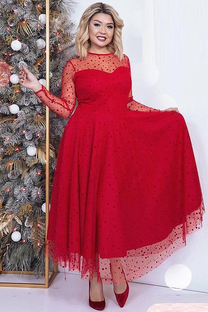 Вечернее платье с вырезом декольте 42234 (48–54рр) в расцветках , фото 7
