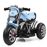 Мотоцикл M 3639-12 1мотор25W, аккум6V4, 5A, 3колеса, MP3, USB, SD, cвет, подставка для ног, голубой