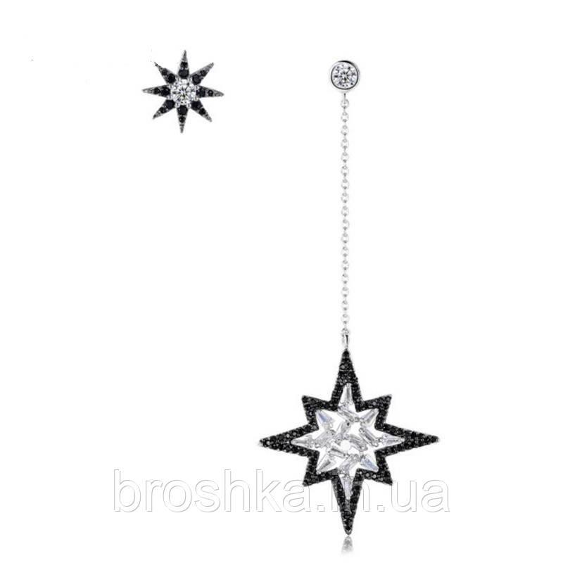 Асимметричные длинные вечерние серьги звезды с черными камнями