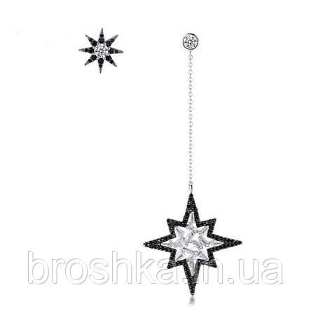 Асимметричные длинные вечерние серьги звезды с черными камнями, фото 2