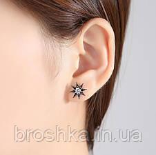 Асимметричные длинные вечерние серьги звезды с черными камнями, фото 3