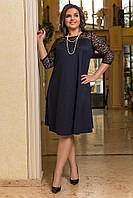 Нарядное женское платье Креп дайвинг  с люрексовой нитью и гипюр Размер 48 50 52 54 , фото 1