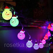 "Новогодняя светодиодная гирлянда ""Снеговички"" 10 LED на батарейках"