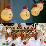 """Новорічна світлодіодна гірлянда """"Сніговички"""" 10 LED на батарейках , фото 2"""