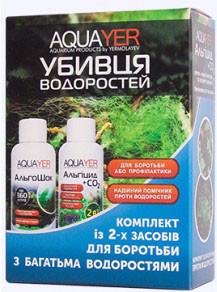 Комплект проти водоростей, Альгіцид+СО2 і Альгошок 2х60мл. Добрива для рослин, препарат, AQUAYER