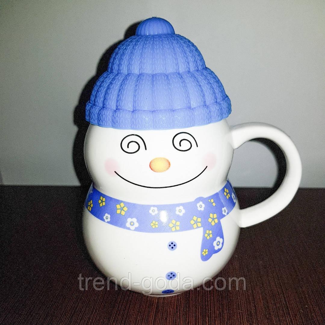 Кружка снеговик с силиконовой крышкой