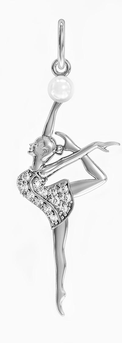 Підвіска - кулон срібна Гімнастка Балерина з перлами 411 990
