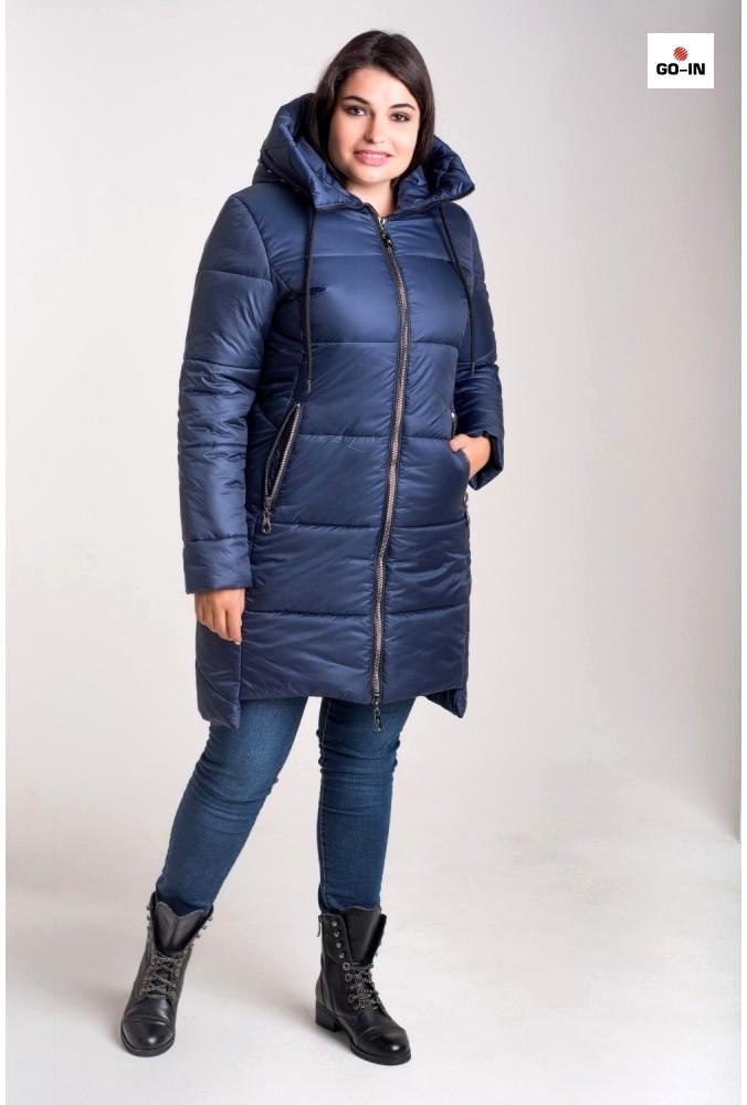 Зимняя куртка женская большого размера Синяя