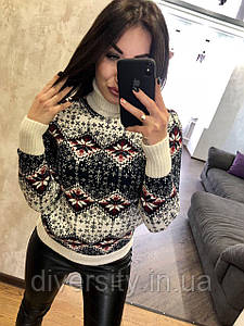"""Женский вязаный свитер под горло """"Орнамент-1"""" 6 цветов"""