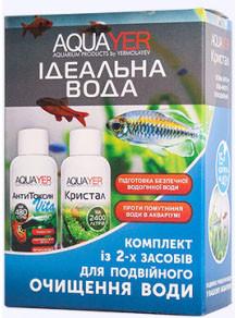 Идеальная вода в аквариуме АнтиТоксин Vita и Кристал 2х60мл, для подготовки воды, AQUAYER