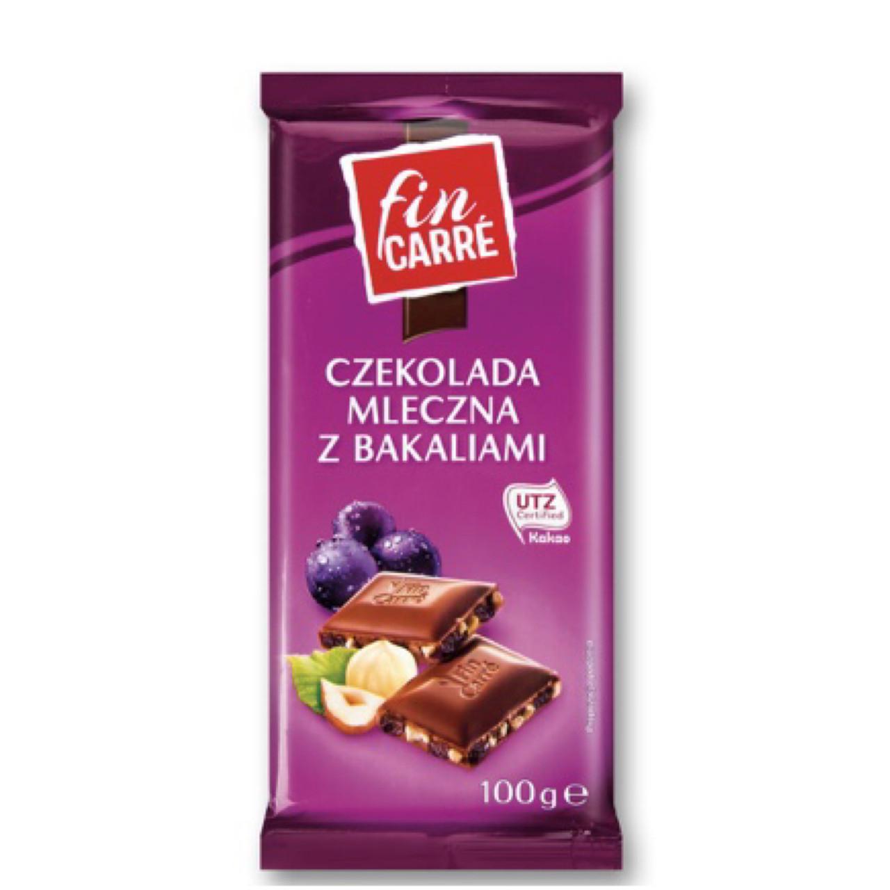 Шоколад Fin Carre молочный дроблённый орех изюм 100г