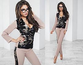 """Нарядный брючный женский костюм """"Kylie"""" c пайетками (2 цвета), фото 2"""