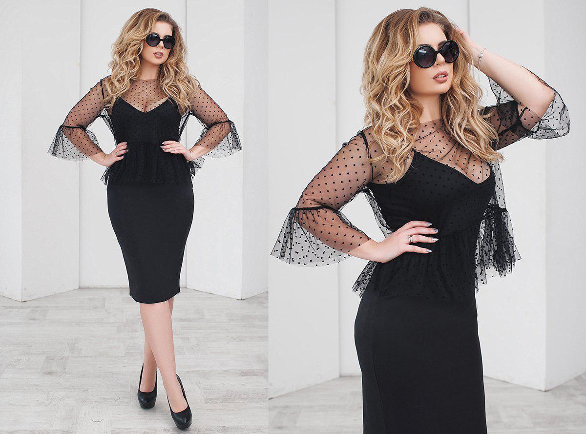 """Нарядное комбинированное платье-двойка """"LINDA"""" с блузой из сетки (большие размеры)"""