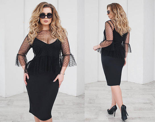 """Нарядное комбинированное платье-двойка """"LINDA"""" с блузой из сетки (большие размеры), фото 2"""