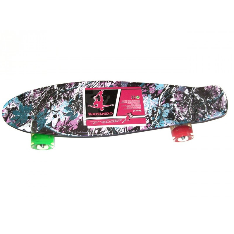 Скейт Profi Penny Board LED MS0748-6 Print