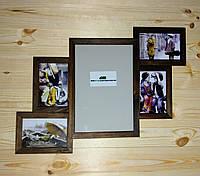 Деревянная эко мультирамка, коллаж #305 орех, венге, белый, чёрный..