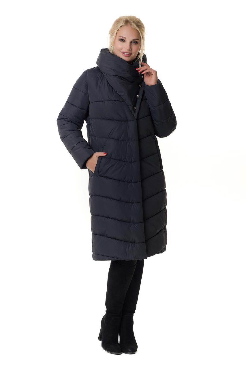 Зимние женские куртки от производителя удлиненный 46-56 графит