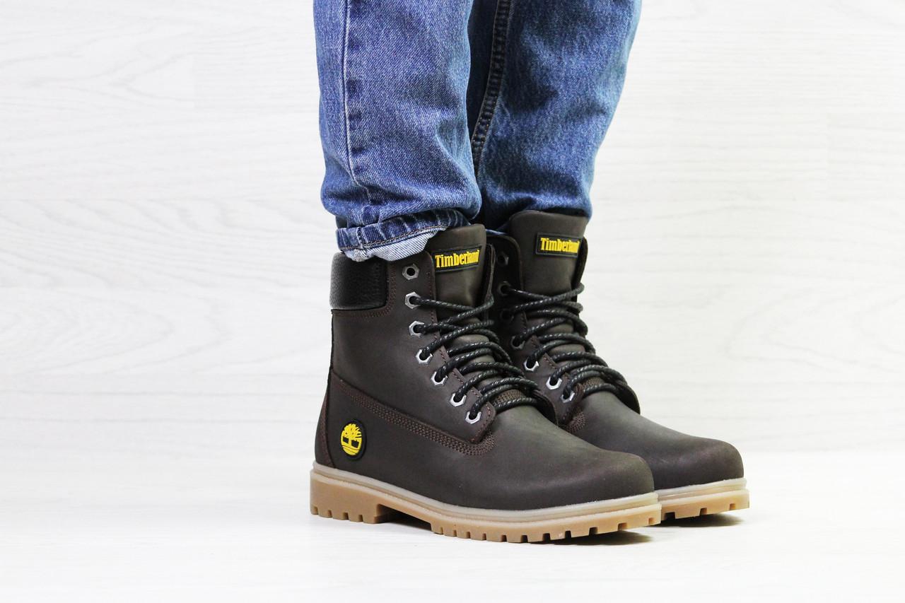 Женские зимние ботинки Timberland, темно-коричневые (Реплика) - Интернет- магазин
