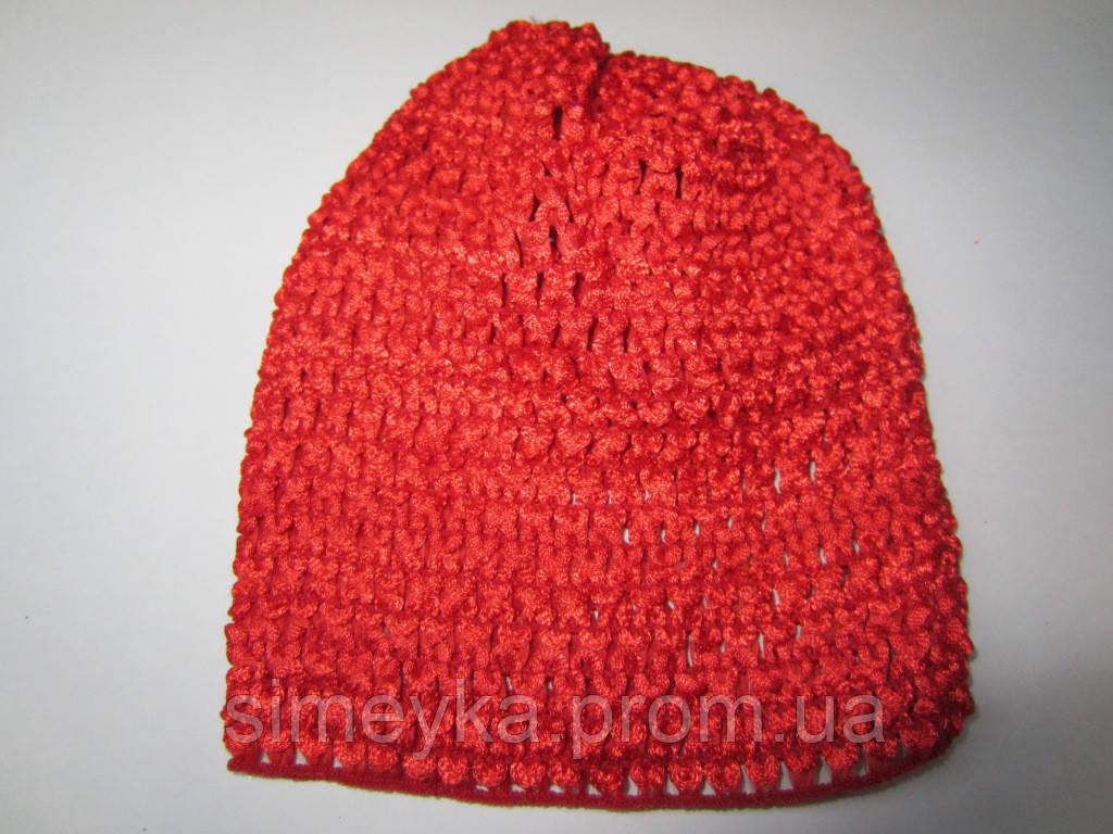 Шапочка детская ажурная, длина 15 см, для девочек 0 -1 год. Красная