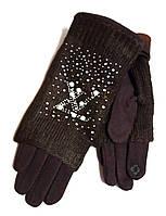 Женские сенсорные перчатки митенки, трикотаж/флис, коричневые