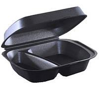 Ланч-бокс 2-х секционный 23,6х19,7х7,3 см., 200 шт/уп из вспененного полистирола, черный Romcarbon