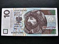 Банкнота Десять 10 злотых Польши 2016 г.