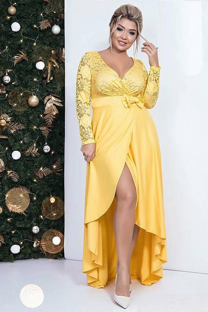 Вечернее платье с сексуальным декольте 41342 (48–52рр) в расцветках, фото 3