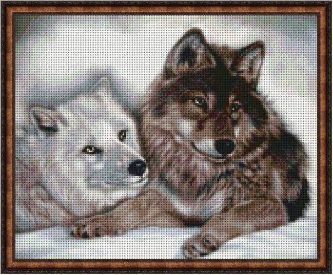 """Схема для вышивки бисером 38х31см """"Красивые волки"""""""
