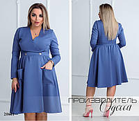 Платье 523 расклешенное от талии R-21661 джинсовый