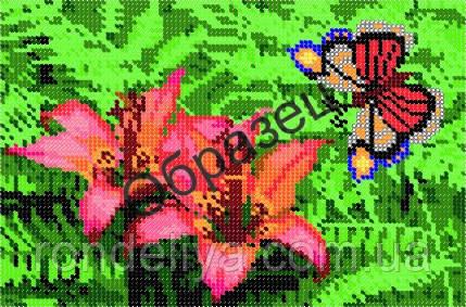 Схема для вышивки бисером «Бабочка и лилии»